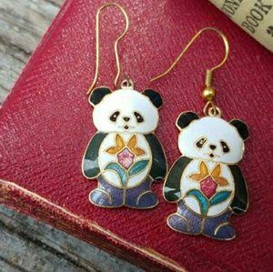 Vintage Panda Bear Cloisonne Enamel Drop Earrings